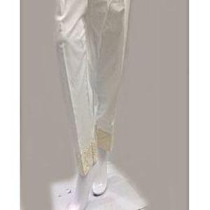 Alkaram studioalkaramer embroidered trousers in white