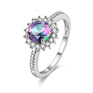 Silver Color +A Quality Cubic Rainbow Zirconia Mystic Ring Love Gift For Her