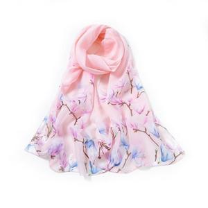 24 Colors Fashionable Women Long Chiffon Scarf Printed Pattern Sunscreen Beach Shawl Scarf