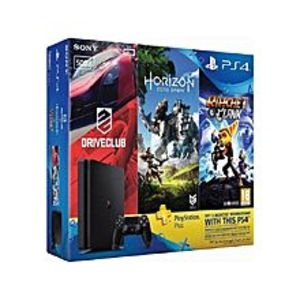 SonyPS4 HITS Bundle 500GB + Horizon Zero Dawn, Ratchet & Clank, and Driveclub + 3 Month PS Plus