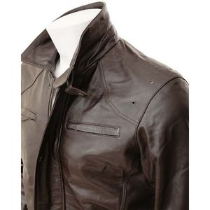 Brown-Faux Leather Holes Jacket-For Men