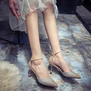 High Heel Wedding Shoes Female Stiletto Shoes Bridesmaid Single Shoes Sandals