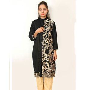 Black Luxury Linen Embroidered Kurti For Women