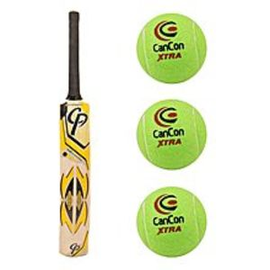 Asaan SportsPack of 4 - High Quality Tennis Ball Cricket Bat For Tape Ball with Three Original Cancon Extra Tennis Balls