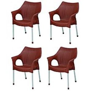 BossPack Of 4 - Plastic Res Relaxo Chairs - Brown