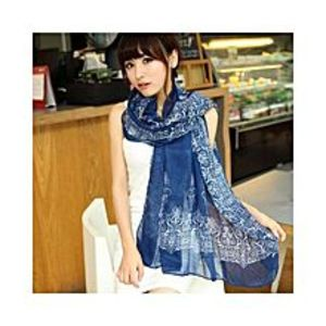 Chinese Dukaan Blue Floral Women Long Bohemian Printed Wrap Scarf for Girls