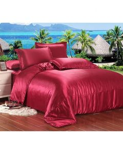 My Home Store Red Silk Bedsheet Set - S-12