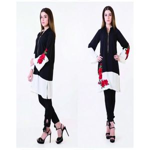 Black & White Cotton Kurti For Women