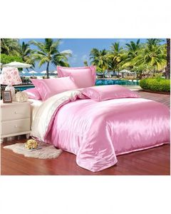 My Home Store Pink & White Silk Bedsheet Set - s-24