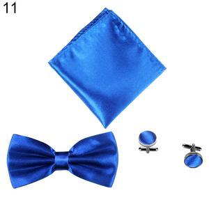 3Pcs Solid Color Silky Wedding Business Men Suit Tie Necktie Cufflink Hanky Set