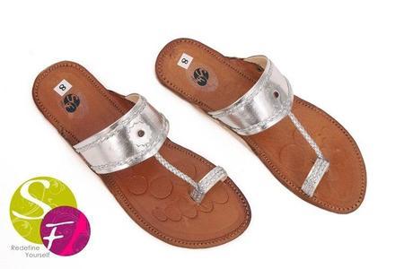 Silver - Leather Kolapuri Slippers For Women