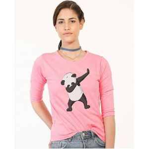 JAJJA Production Pink Cotton Panda Printed T-Shirt for Women