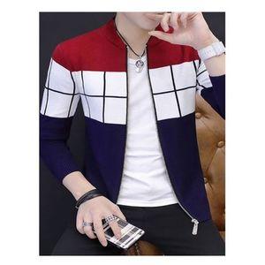 Multicolour Fleece Printed Zippered Jacket for Men