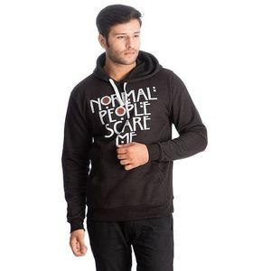 Black Normal People Scare Me Printed Cotton & Wool Hoodie for Men