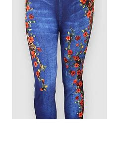 Blue Jeans Legging & Tights With Daffodils Print For Women - Jtl-001