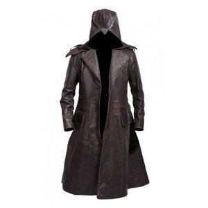 GHOST REAL LEATHER HAND MADE Dark Brown Long Coat for Men
