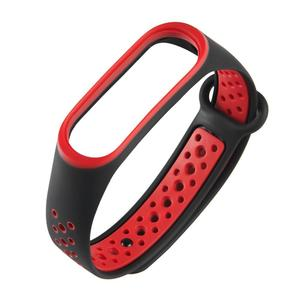 Silicone Porous Breathable Watch Band for Xiaomi Mi Band 3 (Black+Red)
