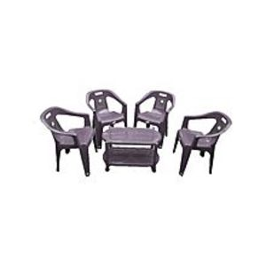 CHIEF(Boss) Set Of 4 Plastic Chairs And Plastic Table - Grey