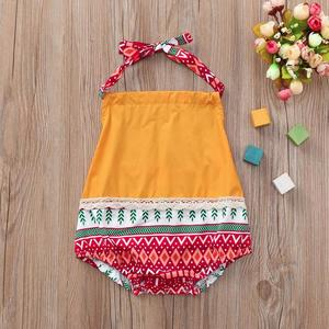 Rainbowroom 2019 Infant Baby Girls Sleeveless Straps Romper Print Jumpsuit Lace Clothes Outfits