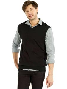 Sleeve Less Fleece Sweaters In Black For Him