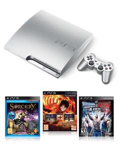 Bundle Offer 4: Playstation 3 -  Silver 320 GB + One Piece Pirate Warriors 1 & 2 + Smack Down vs Raw 2011 + Sorcery