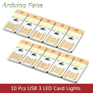 Whole Sale Pack of 10 USB Card Lamp Bulb LED Keychain Mini White LED Night Light Portable USB Power Lamp