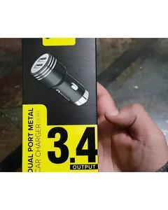 SPACE DUAL USB PORT 3.4A METAL CAR CHARGER CC-155 - BLACK