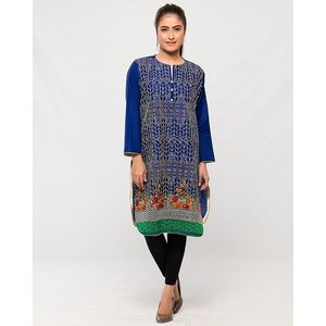 Reigningstones Navy Blue Cotton Lawn Embroidered Kurta For Women