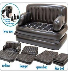Black Air Lounge 5 in 1 Sofa Cum Queen Size Bed 74x60x25 Inches With Free Electric Pump