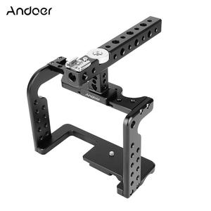 Andoer Video Camera Cage Stabilizer with Top Handle Aluminum Alloy for Panasonic GH5/GH4 DSLR to Mount Mic Monitor LED Light Film Making Accessories