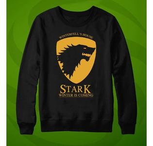 Winter Is Coming Game Of Thrones Printed Black Sweatshirt O-Neck Full Sleeves Fleece Cotton Winter Wear Casual Shirt For Men