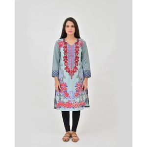dOrhni Casuals Sea Green & Red Summer Print Embroidered Kurti for Women