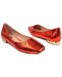 Metro Shoes Red Flat Close Shoes Pumps