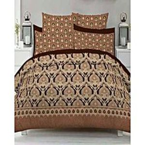 Sana BeddingMulticolor Cotton King Size Bed sheet With 2 Pillow Covers - 3 Piece