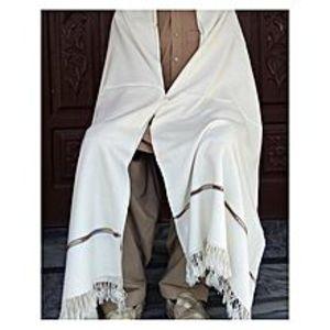 Charsadda HandMadeHandmade Woolen Shawl - Pure White
