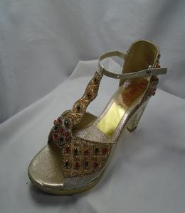 Golden Synthetic Fancy Heels  Strppy Sandal For Women - 558-51057