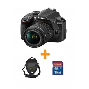 Nikon D3400 - DSLR Camera - 24.2 MP 18-55- 16GB card- Bag BLK