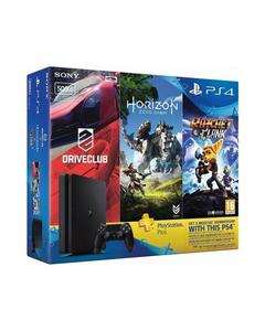 Playstation 4 HITS Bundle 500GB + Horizon Zero Dawn, Ratchet & Clank, and Driveclub