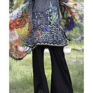 AlmirahBlack Lawn Unstitch 3Pc Suit for Women