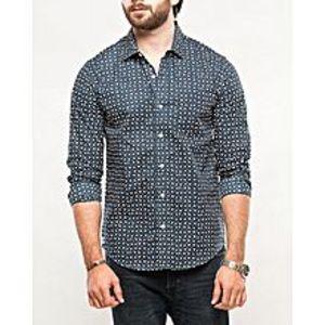 DenizenDeep Blue Cotton Heather L/S Woven Shirt-Special Online Price