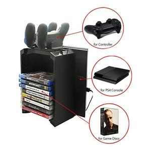 Dobe Multifunctional Storage Stand Kit for PS4 Pro PS4 Slim PS4 and Xbox One S with Controller Charger (Black)