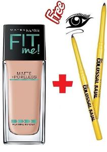 Maybelline New York Fit Me Matte + Poreless Foundation (125 Nude Beige-30ml) With Colossal Kajal