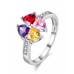 Sparkling Cubic 4 Colorful Zirconia Flower Ring Love Gift For Her