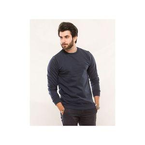 Essentials Blue Textured Fleece Sweat Shirt For Men