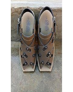 Brown Artificial Leather Peshawari Sandals