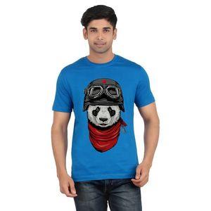 Ace Blue Cotton  Panda Printed T-Shirt for Men