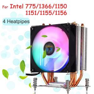 Intelligence  【 Flash Deal】Screw Base CPU Cooler 4 Heatpipe LED RGB Cooling Fan for LGA 775/1366/1150-1156