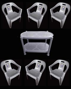 (Boss) Set Of 6 Plastic Chairs And Plastic Table - Grey
