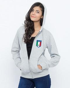 Heather Grey Italia Printed Zipper Hoodie For Women