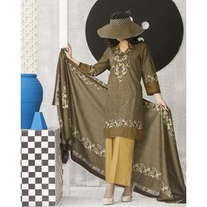 Coffee Brown Floral Printed Lawn Suit For Women - 3 Pcs